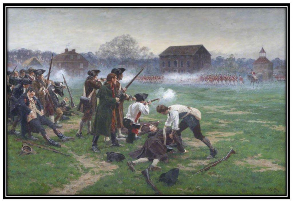 Battle-of-Lexington-Green-by-William-Barnes-Wollen