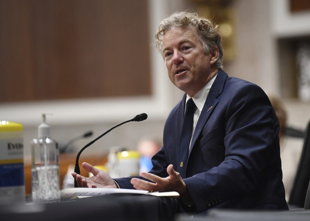 Sen. Rand Paul, R-Ky, speaks during a Senate Health, Education, Labor and Pensions Committee hearing on Capitol Hill in Washington, Tuesday, June 30, 2020. (Kevin Dietsch/Pool via AP)