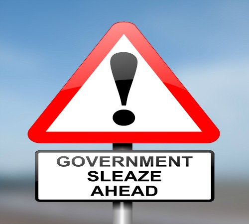 Illustration depicting red and white triangular warning road sign with a government sleaze concept. Blurred blue  background.